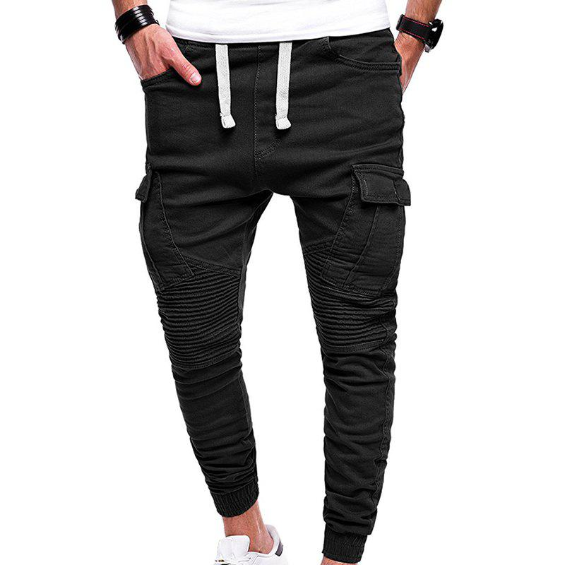 Men's Fashion Solid Color Pleated Tether Belt Harem Casual Feet Pants - BLACK 2XL