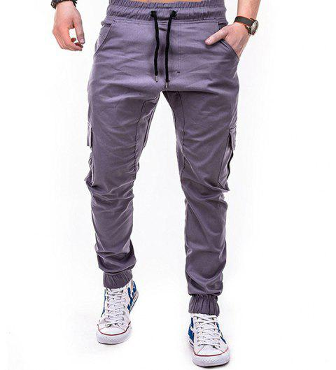 Men's Solid Color Side Pockets Tether Elastic Belt Casual Beam Pants - GRAY L