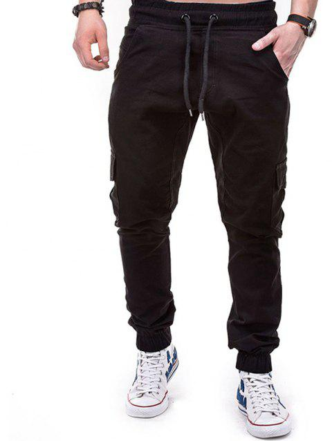 Men's Solid Color Side Pockets Tether Elastic Belt Casual Beam Pants - BLACK 4XL