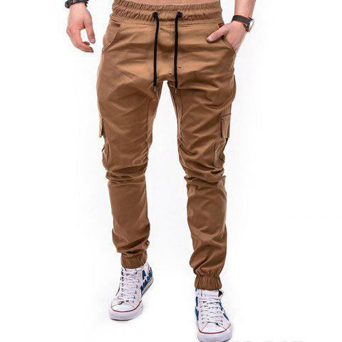 Men's Solid Color Side Pockets Tether Elastic Belt Casual Beam Pants - LIGHT KHAKI M
