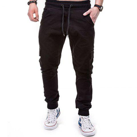 Men's Solid Color Side Pockets Tether Elastic Belt Casual Beam Pants - BLACK L
