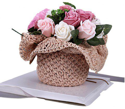 Valentine Day Girlfriend Romantic Birthday Rose Bouquet Soap Flower Gift Box - multicolor D