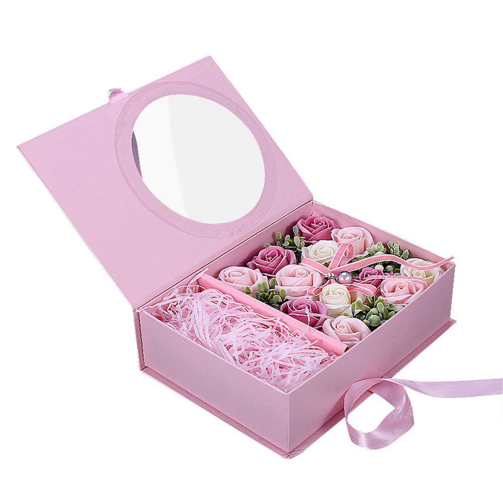 Valentine Day Girlfriends Romantic Birthday Rose Soap Flower Gift Box - multicolor A