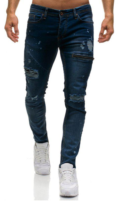 Men's Ripped Skinny Distressed Destroyed Slim Fit Stretch  Holes Jeans Pants - DEEP BLUE L