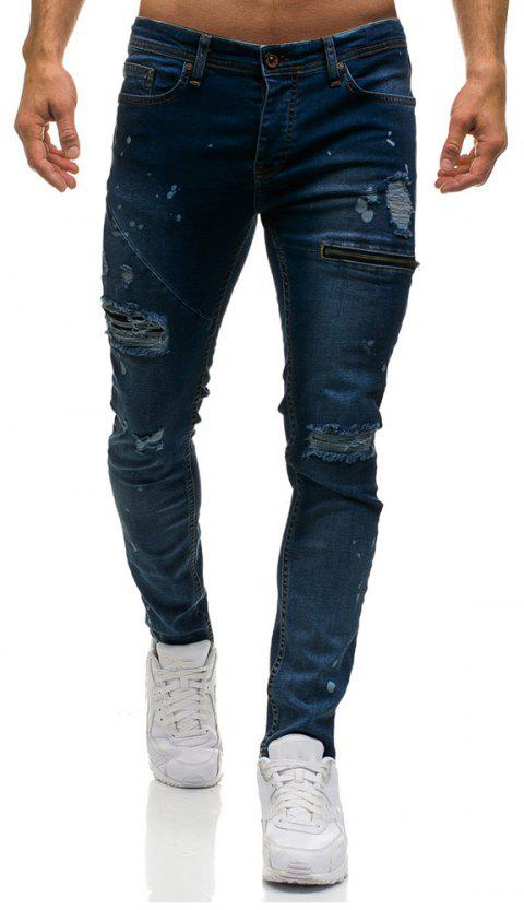 Men's Ripped Skinny Distressed Destroyed Slim Fit Stretch  Holes Jeans Pants - DEEP BLUE 2XL