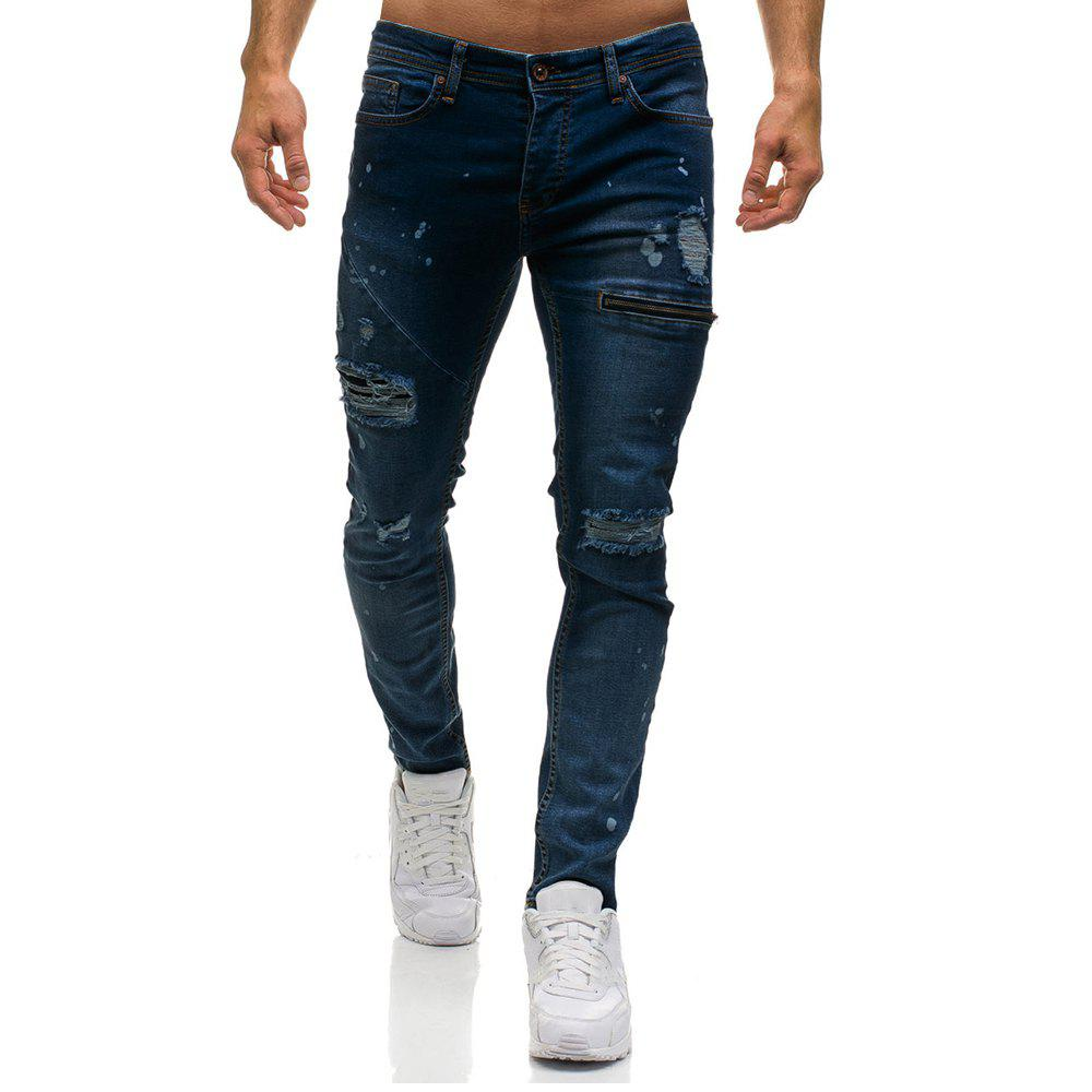 Men's Ripped Skinny Distressed Destroyed Slim Fit Stretch  Holes Jeans Pants - DEEP BLUE XL