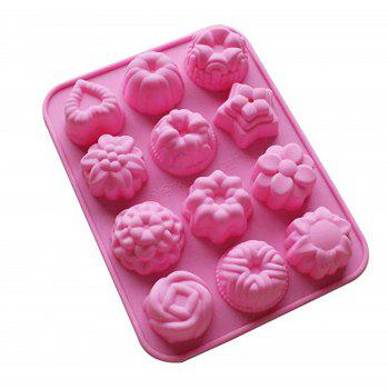 2 Pcs Silicone Bakeware Mold Cake Chocolate Jelly Pudding Flower Heart Shape Set - PINK