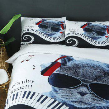 3D Cat Cartoon Animal Hair Warm Children'S Bedding Three-Piece - multicolor QUEEN