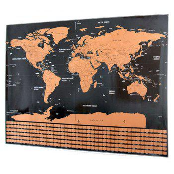 World Version with Flag Tourist Scratch Map - CINNAMON
