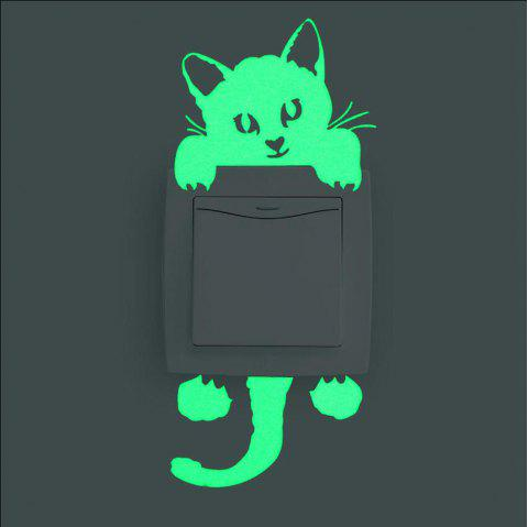 Cute Luminous Switch Sticker Creative Kitten Cat Luminous Noctilucent Glow Switc - GREEN YELLOW