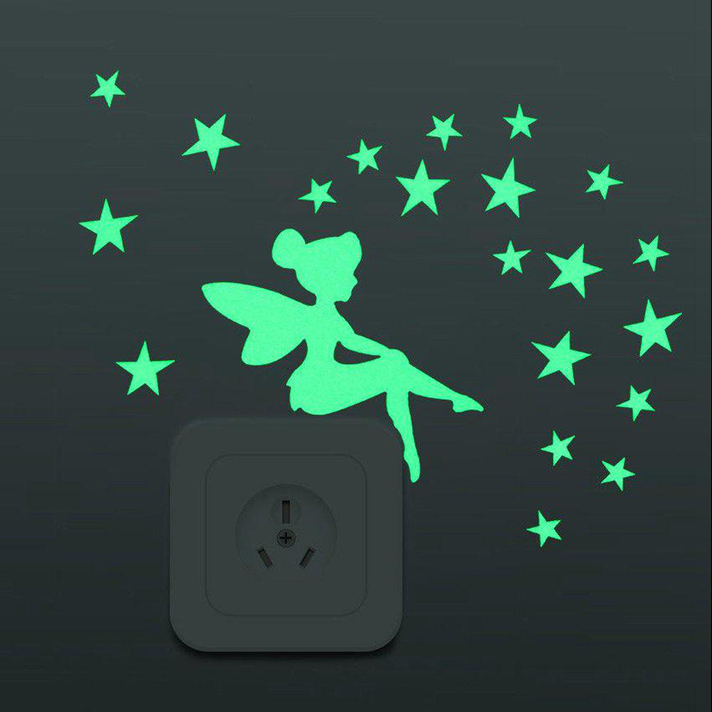 Luminous Cartoon DIY Switch Wall Sticker Decoration Fluorescent Room Home Decor - GREEN YELLOW
