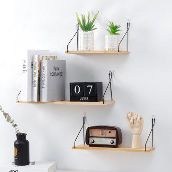 Collalily Nordic Simple Wall Shelf Iron Wooden Decorative Holder Rack - multicolor 50CM X 15.8CM X 16.5CM