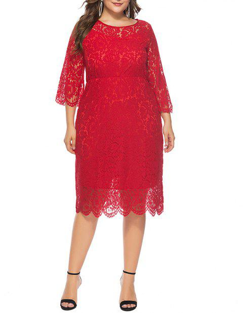 Solid Color 3/4 Length Sleeve Lace Dress - RUBY RED 2XL