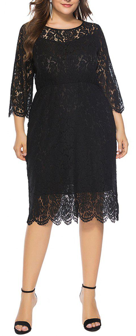 Solid Color 3/4 Length Sleeve Lace Dress - NIGHT 2XL