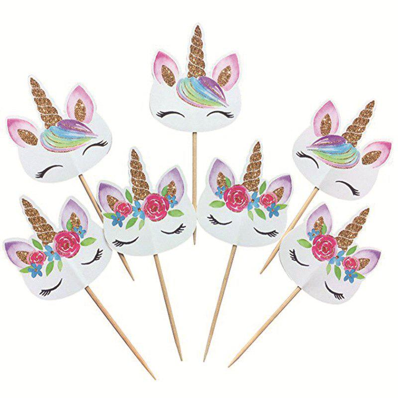 24PCS Unicorn Cake Flag Birthday Party - multicolor