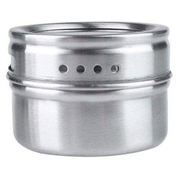 6PCS Multipurpose Kitchen Stainless Steel Spice Jars with Trestle Rack - SILVER