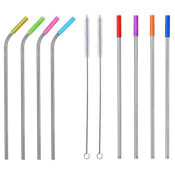 Reusable Stainless Steel Drinking Straws with Silicone Tips Cleaning Brush - SILVER