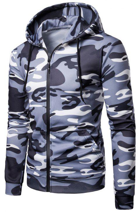 Men's   Spring Autumn   Camouflage Hooded Jacket - LIGHT GRAY M