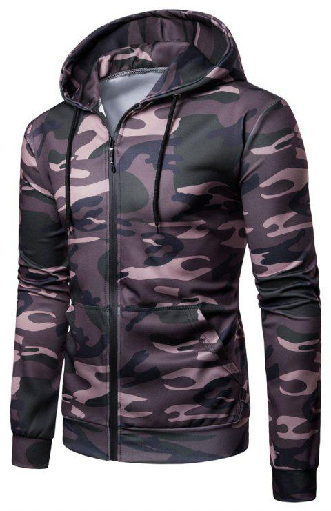 Men's   Spring Autumn   Camouflage Hooded Jacket - JUNGLE GREEN 2XL