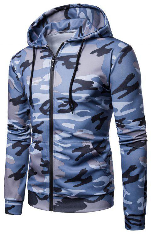 Men's   Spring Autumn   Camouflage Hooded Jacket - BLUE M