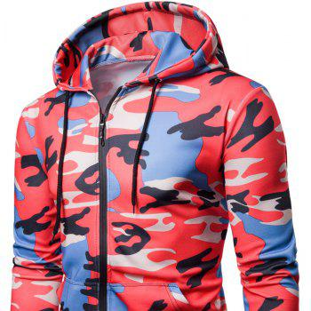 Men's   Spring Autumn   Camouflage Hooded Jacket - RED 2XL