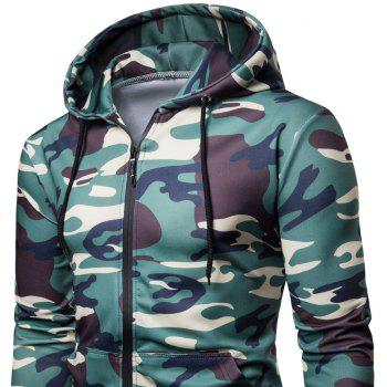Men's   Spring Autumn   Camouflage Hooded Jacket - TEA GREEN XL