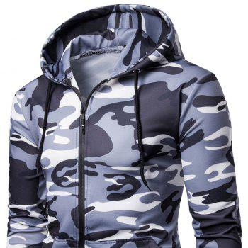 Men's   Spring Autumn   Camouflage Hooded Jacket - LIGHT GRAY XL