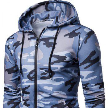 Men's   Spring Autumn   Camouflage Hooded Jacket - BLUE XL