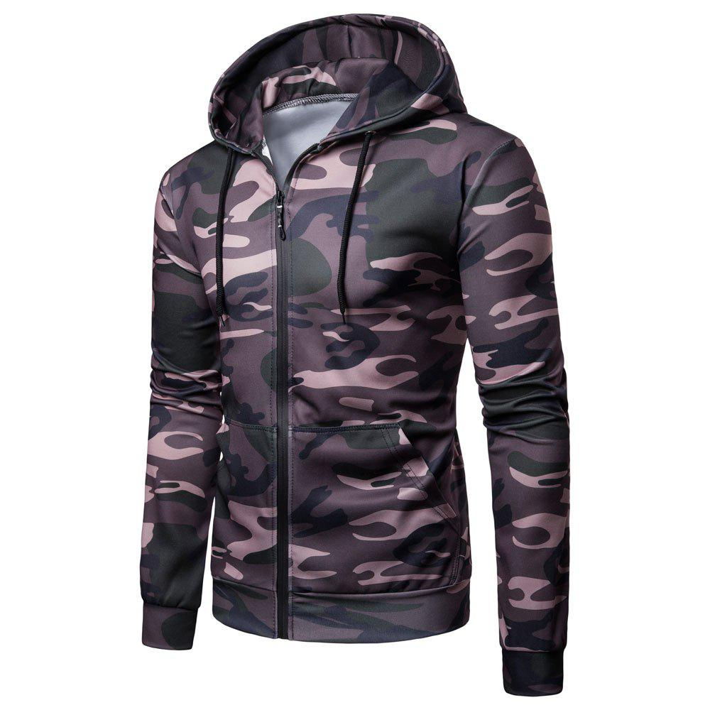 Men's   Spring Autumn   Camouflage Hooded Jacket - JUNGLE GREEN M