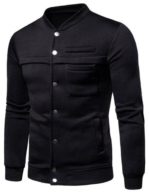 Spring  Autumn Men's   Fashion Slim Stand Collar Coat - BLACK 3XL