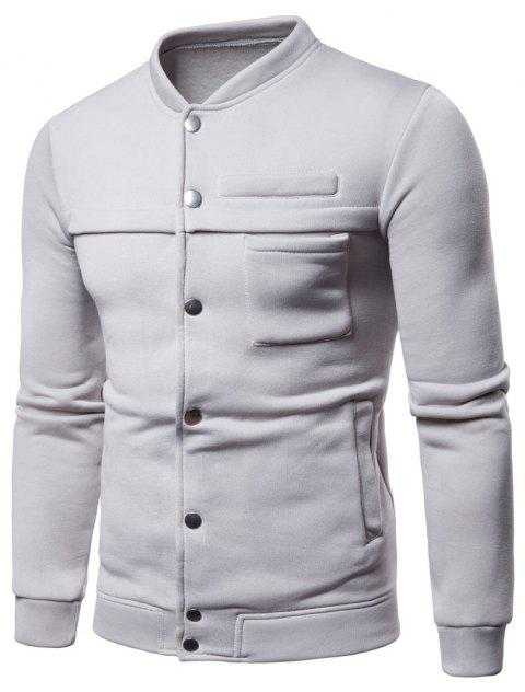 Spring  Autumn Men's   Fashion Slim Stand Collar Coat - LIGHT GRAY XL