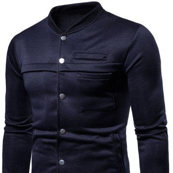 Spring  Autumn Men's   Fashion Slim Stand Collar Coat - CADETBLUE L