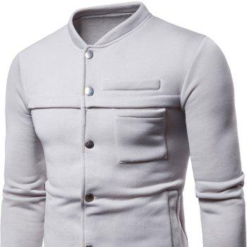 Spring  Autumn Men's   Fashion Slim Stand Collar Coat - LIGHT GRAY L
