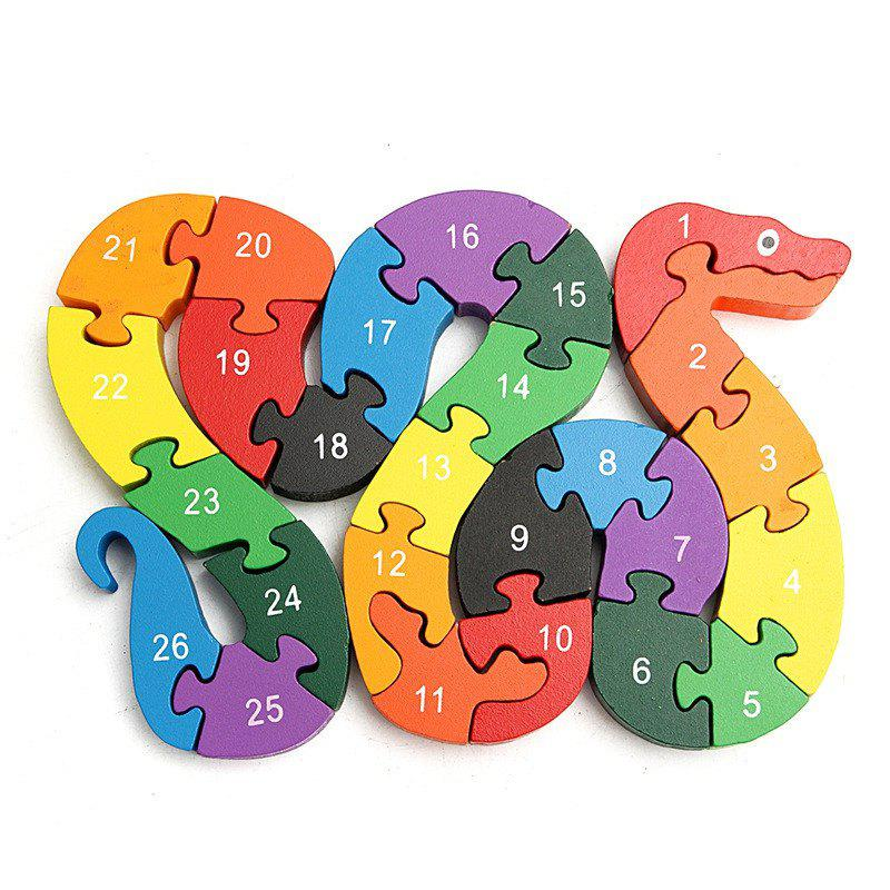 3D Wooden Winding Animals Cognition Jigsaw Puzzle Toy - multicolor A