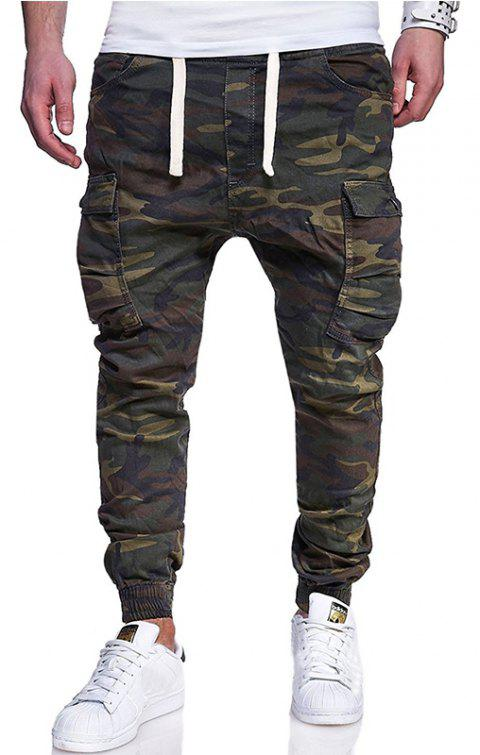 Men's Fashion Camouflage Tether Belt Casual Beam Pants - ARMY GREEN L