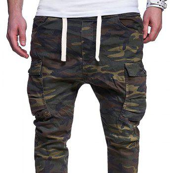 Men's Fashion Camouflage Tether Belt Casual Beam Pants - ARMY GREEN M
