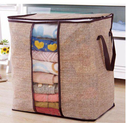 Non-woven Portable Clothes Storage Bag Organizer - BROWN BEAR