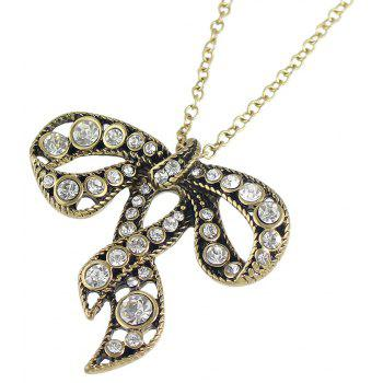 Big Strass Bowknot Pendentif Collier Bijoux - Or