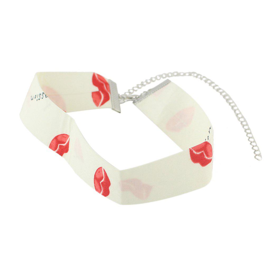 Colorful Polyester Sex Lip Pattern Statement Necklace - WHITE
