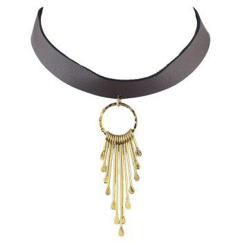 PU Leather Wide Short Necklace with Metal Tassel Geometry - GOLD