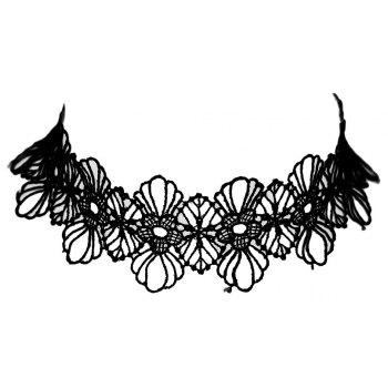 Hollow-out Lace Flower Short Wide Necklace for Women - BLACK