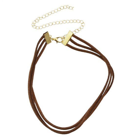 Minimalist Multilayer PU Leather Chain Necklace - BROWN