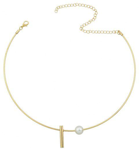 Minimalist Jewelry Metal Geometry Bead Torques Necklace - GOLD