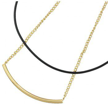 Long PU Leather Metal Chain Necklace Women Jewelry - GOLD