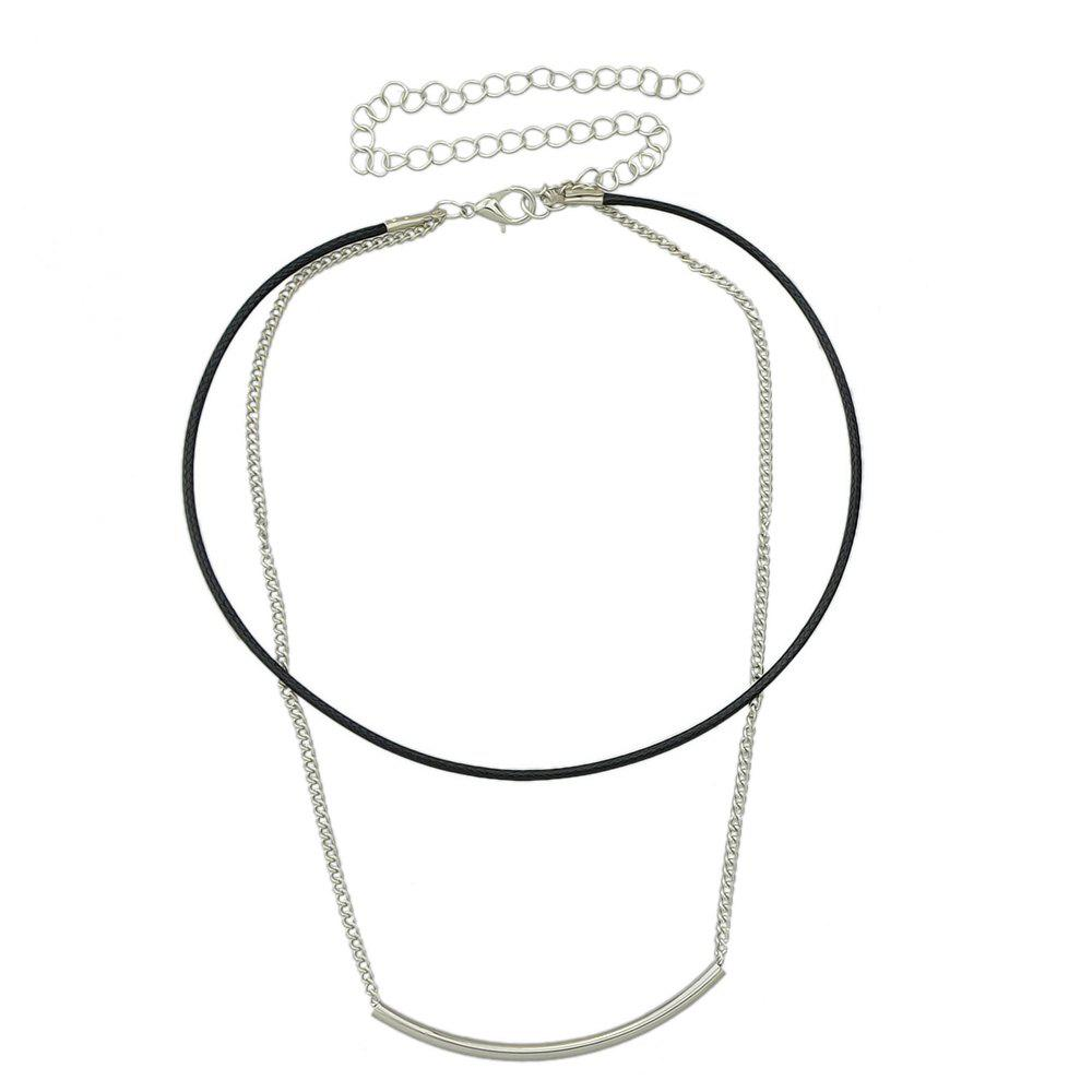 Long PU Leather Metal Chain Necklace Women Jewelry - SILVER