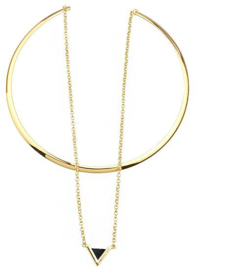 Torques Chain with Geometric Pendant Necklace - GOLD