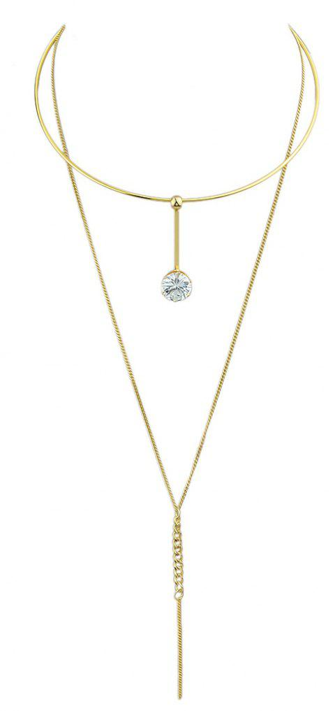 Long Chain with Rhinestone Statement Necklace - GOLD