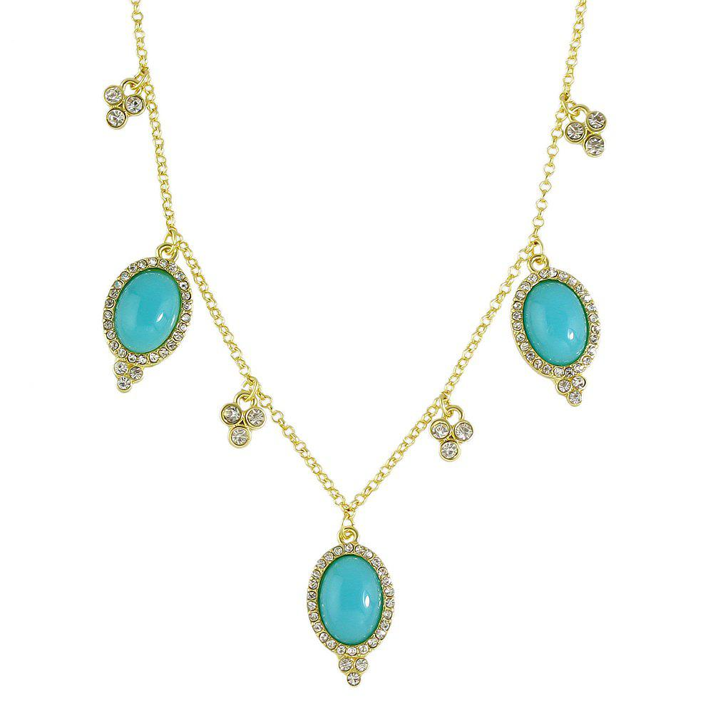Luxury Metal Chain with Rhinestone Bead Necklace - TURQUOISE