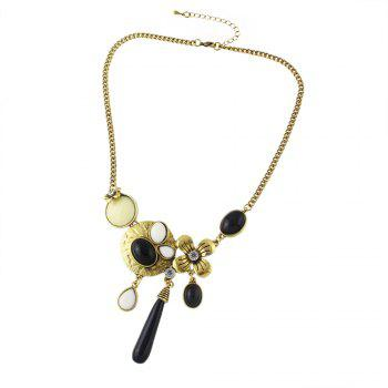 Metal Chain with Gemstone Geometry Pendant Necklace - multicolor