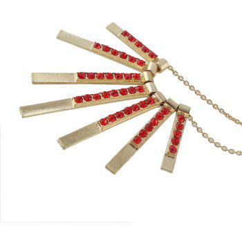 Metal Long Chain with Gemstone Geometry Tassel Pendant Necklace - LAVA RED